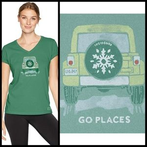LIFE IS GOOD go places v neck crusher classic tee